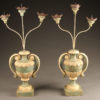 Pair of French 3 arm candelabras with poly-chrome finish.