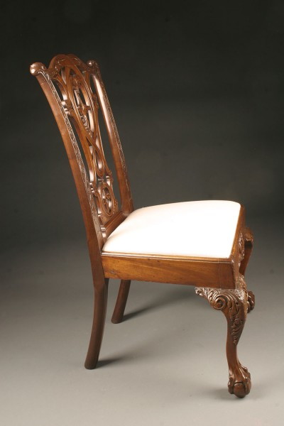 Late 19th Century Set of Six Antique Chippendale Style Side Chairs with Ball and Claw Feet A3572C