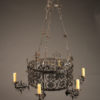 19th century French wrought iron chandelier with six arms