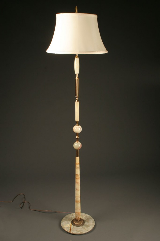 1920 onyx and brass Danish floor lamp A4520A