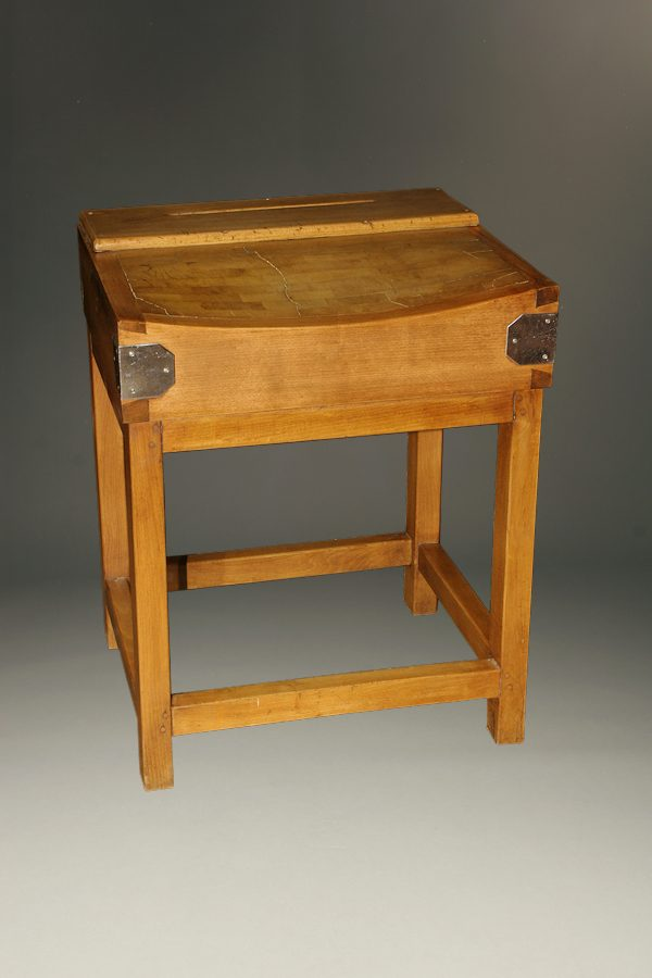 Antique French Butcher Block With Slot