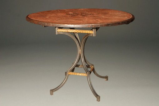 Cast stone and iron breakfast table A5208A1