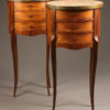 Pair of 19th century antique oval marble top nightstands A5216A1