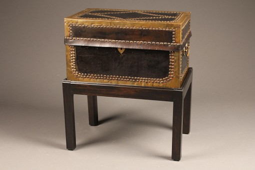 Custom leather covered campaign style chest A5218A1