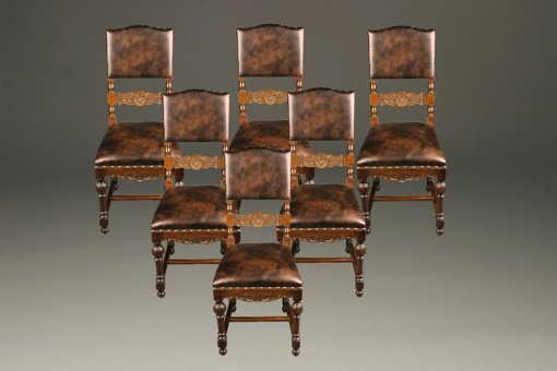 Set of 6 antique Italian walnut side chairs A5224A1