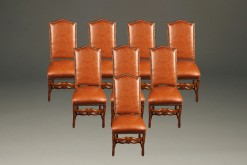 Set of 8 antique French mutton leg chairs A5225A1