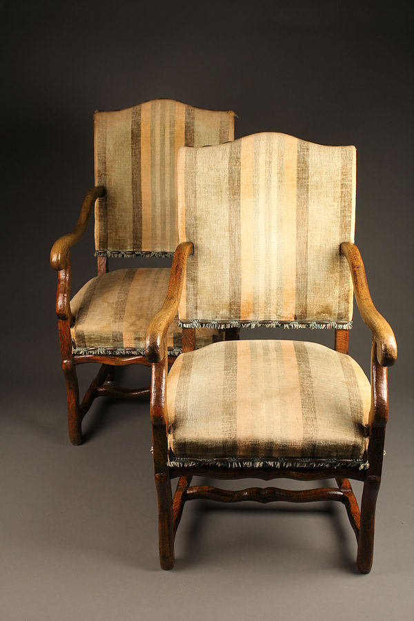 Pair of Louis XIII style French arm chairs A5229A1