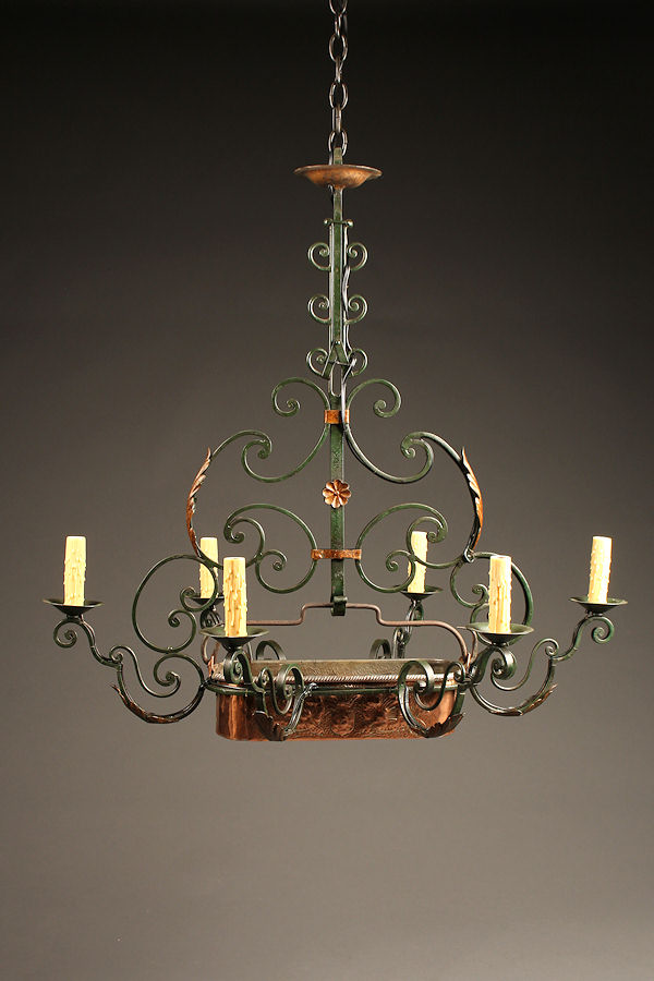 Early 20th Century Iron Antique Chandelier With Poissonniere A5235A1