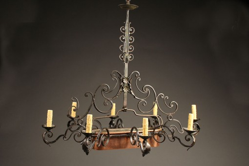 Late 19th century iron antique chandelier with copper poissonniere A5236A1