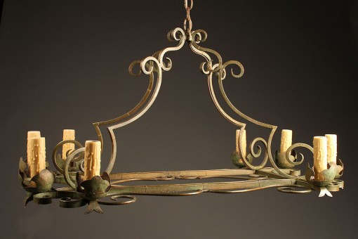 Early 20th century 8 arm iron antique chandelier A5237A1
