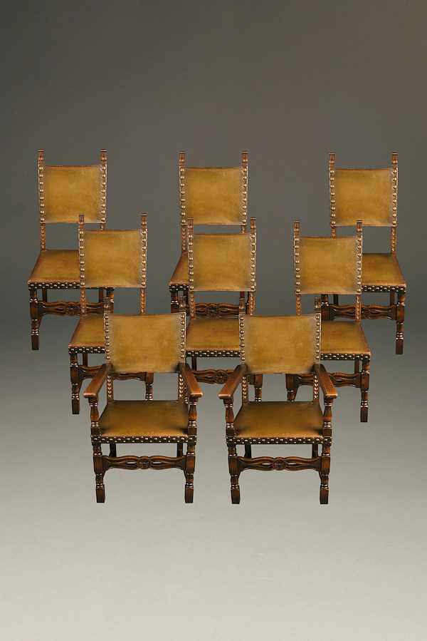 Set of 8 antique French chairs with leather upholstery A5260A1