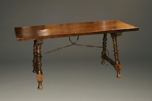 19th century Spanish antique table with iron stretcher A5272A1