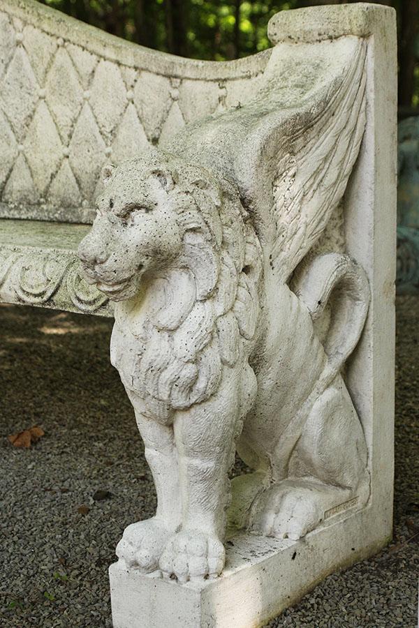 Cast Stone Lion Bench