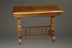 19th century French walnut dessert table with collapsing shelves