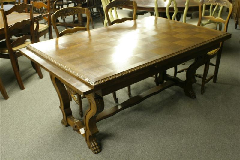 Antique French Oak Drawleaf Table With Marquetry Top