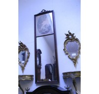 19th century Louis XVI carved French Tremeau mirror with print.