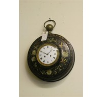 Early 19th century French tole painted clock, circa 1830 Empire period.