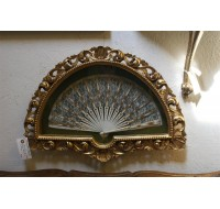 Lace fan in ornate gold shadow box