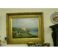 19th century oil on canvas of 2 cows by artist Theodore Levignes