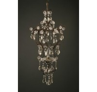 antique single light iron and crustal chandelier