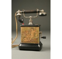 French scenic painted telephone with cherubs
