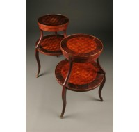 Pair of two tiered marquetry tables with decorative ormolu
