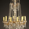 Antique Crystal and bronze 12 arm chandelier