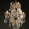 Antique 4 arm iron, wood and crystal Italian chandelier, circa 1880