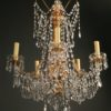 Antique 6 arm iron and gilded wood chandelier A5037B