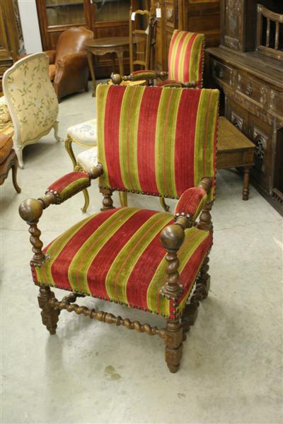 Pair of oak French Baroque style chairs