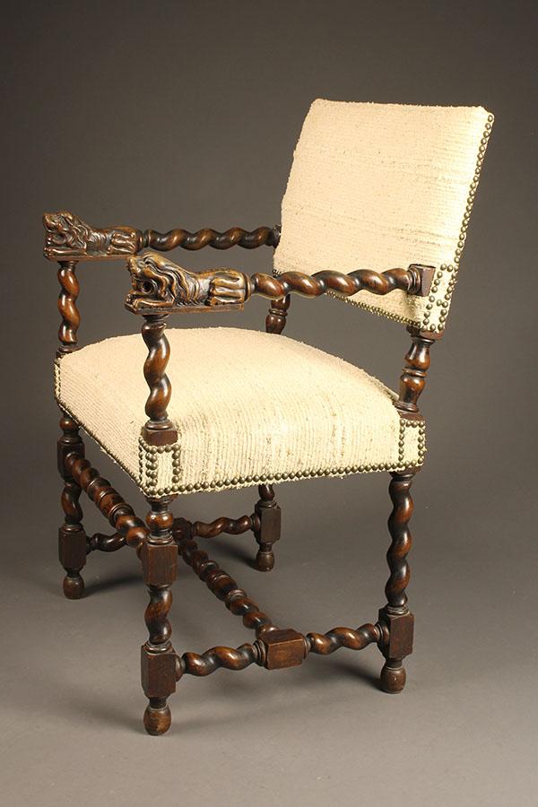 Antique English Renaissance arm chair.