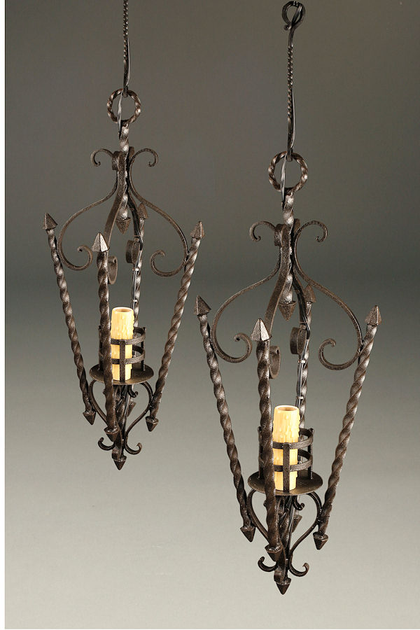 Pair of early 20th century iron antique lanterns.