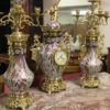 Art Nouveau French Porcelain garniture with dore bronze mounts