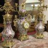 Art Nouveau French Porcelain garniture with dore bronze mounts