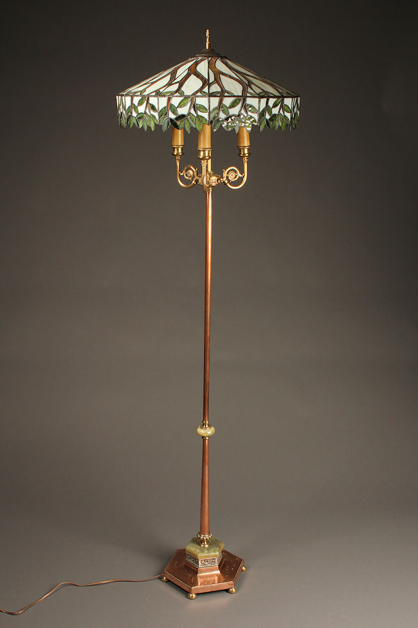 Antique Floor Lamp With Copper Shaft And Onyx Embellishments