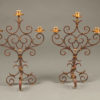 Pair of 19th century French wrought iron candelabra