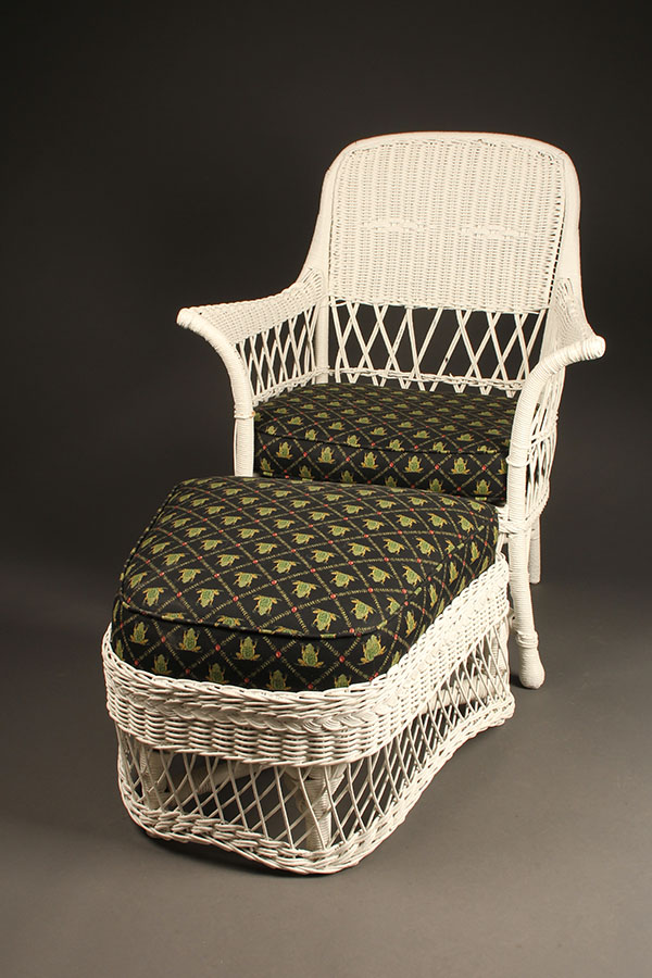 Wicker armchair with stool A5443A