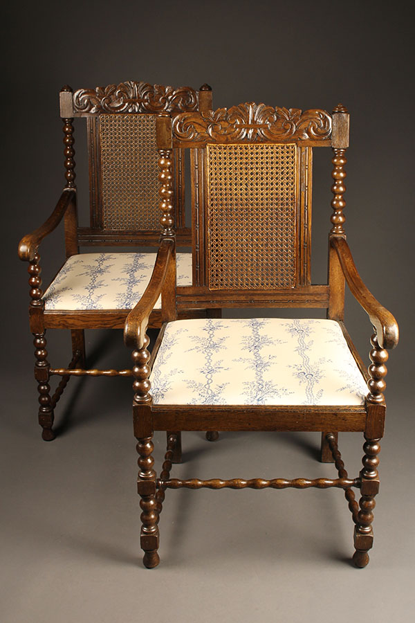 Pair of antique Jacobean arm chairs A5453A