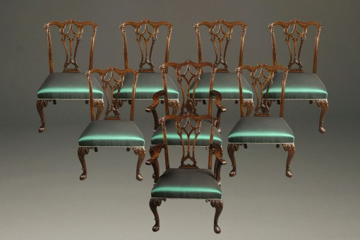 Set of 8 Chippendale style chairs A5484A
