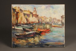 Painting of harbor scene A5487A