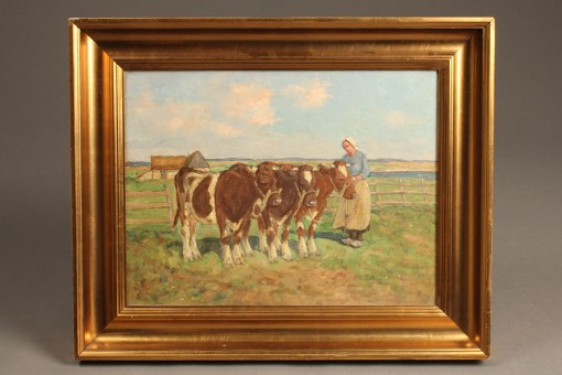 Painting of milkmaids with cows A5489A