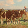 Painting of milkmaids with cows A5489B