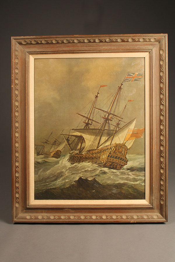 Oil on canvas featuring English ship A5491A
