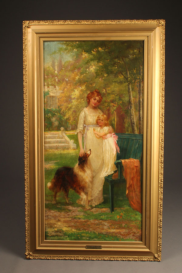 Oil on canvas featuring a woman, child and dog A5493A