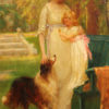 Oil on canvas featuring a woman, child and dog A5493D