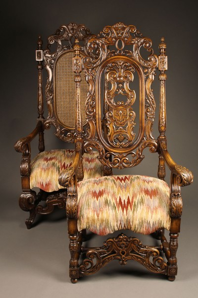 Pair of carved arm chairs A5564A