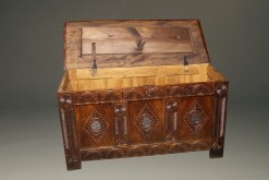 English Jacobean style coffer open