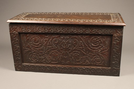 Carved folk art box or coffer A5573A