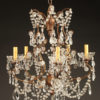 5 arm wood, iron and crystal chandelier A5577A