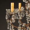 5 arm wood, iron and crystal chandelier A5577C